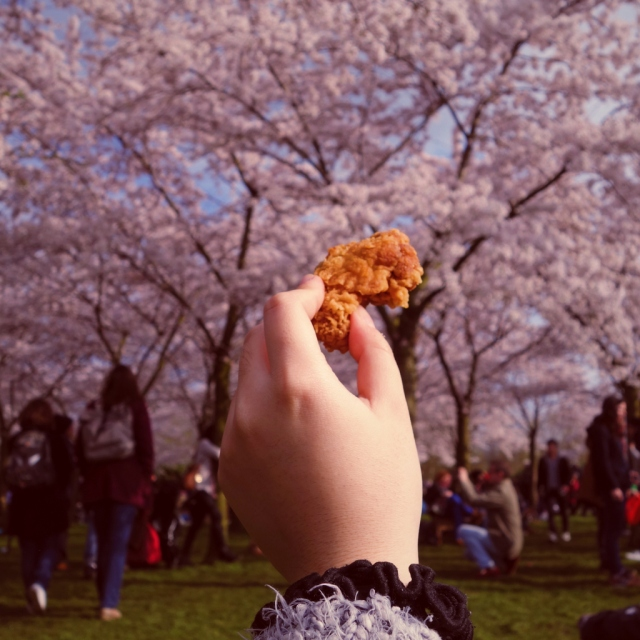 樱花树下吃炸鸡心愿达成!