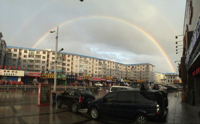 第一天,海拉尔,吃完饭出来见到的双彩虹