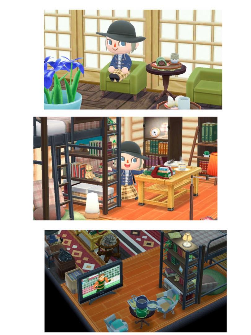 最近玩口袋动森布置得比较好看的房间: